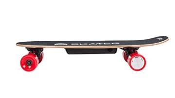 QUER ZAB0025 Elektrisches Skateboard SKATER mit Fernbedienung, bis 120 kg, max. 15 km/h, 2 Fahrmodi, 3 Fahrstufen, schwarz/rot - 3