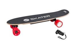 QUER ZAB0025 Elektrisches Skateboard SKATER mit Fernbedienung, bis 120 kg, max. 15 km/h, 2 Fahrmodi, 3 Fahrstufen, schwarz/rot - 1