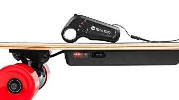 QUER ZAB0025 Elektrisches Skateboard SKATER mit Fernbedienung, bis 120 kg, max. 15 km/h, 2 Fahrmodi, 3 Fahrstufen, schwarz/rot - 4