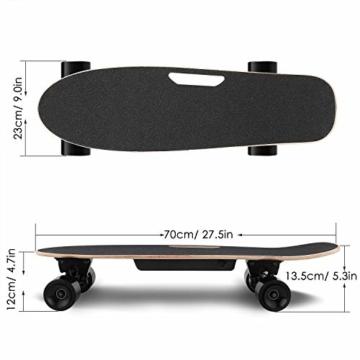 WeSkate E200 Mini-Elektro Skateboard Retro Skateboard mit Fernbedienung und Schubstartsystem, E-Board Mini-Skateboard mit Motor, Li-Ion 2,2 Ah/10-20km/h(2-Gänge), Best Geschenk - 2