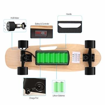 WeSkate E200 Mini-Elektro Skateboard Retro Skateboard mit Fernbedienung und Schubstartsystem, E-Board Mini-Skateboard mit Motor, Li-Ion 2,2 Ah/10-20km/h(2-Gänge), Best Geschenk - 3