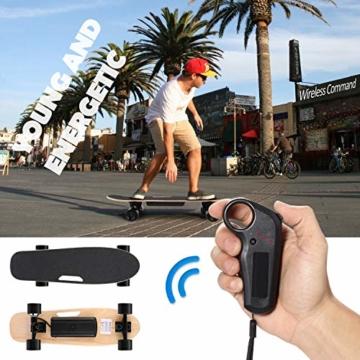 WeSkate E200 Mini-Elektro Skateboard Retro Skateboard mit Fernbedienung und Schubstartsystem, E-Board Mini-Skateboard mit Motor, Li-Ion 2,2 Ah/10-20km/h(2-Gänge), Best Geschenk - 4
