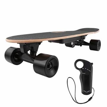 WeSkate E200 Mini-Elektro Skateboard Retro Skateboard mit Fernbedienung und Schubstartsystem, E-Board Mini-Skateboard mit Motor, Li-Ion 2,2 Ah/10-20km/h(2-Gänge), Best Geschenk - 1