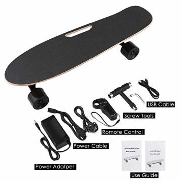 WeSkate E200 Mini-Elektro Skateboard Retro Skateboard mit Fernbedienung und Schubstartsystem, E-Board Mini-Skateboard mit Motor, Li-Ion 2,2 Ah/10-20km/h(2-Gänge), Best Geschenk - 6