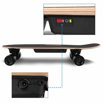 WeSkate E200 Mini-Elektro Skateboard Retro Skateboard mit Fernbedienung und Schubstartsystem, E-Board Mini-Skateboard mit Motor, Li-Ion 2,2 Ah/10-20km/h(2-Gänge), Best Geschenk - 7