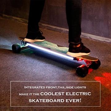Buffalo Elektro - Skateboard - 36 Zentimeter doppelte Kontrolle mit Bluetooth glatt pu - Caster Longboard Geschenke für mädchen Jungen Teenager (450w, 40 km/h) - 2