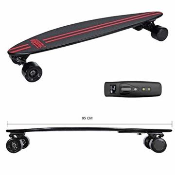 Elektrisches Skateboard Mit Fernbedienung, Elektrisches Longboard Mit Multi-Layer-Ahornfaser, Double Drive Motor Elektrisches Skateboard, 18 Km Reichweite, 30 Km/H, Höchstgeschwindigkeit,Black - 2