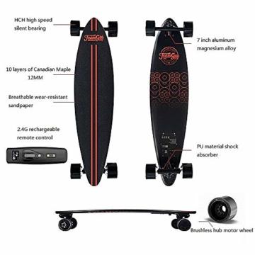 Elektrisches Skateboard Mit Fernbedienung, Elektrisches Longboard Mit Multi-Layer-Ahornfaser, Double Drive Motor Elektrisches Skateboard, 18 Km Reichweite, 30 Km/H, Höchstgeschwindigkeit,Black - 3
