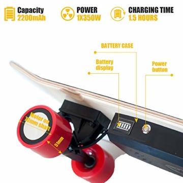 Hiboy - Mini Elektrisches Skateboard 4 Rad mit Intelligent Motor [7 Schichten Bambus Board] und Drahtlose Fernbedienung - 3,6 kg Portable Skate Board für Beifahrer, Kinder und Erwachsene - Modell S11 - 2