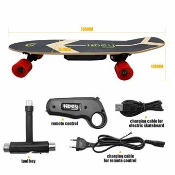 Hiboy - Mini Elektrisches Skateboard 4 Rad mit Intelligent Motor [7 Schichten Bambus Board] und Drahtlose Fernbedienung - 3,6 kg Portable Skate Board für Beifahrer, Kinder und Erwachsene - Modell S11 - 3