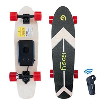 Hiboy - Mini Elektrisches Skateboard 4 Rad mit Intelligent Motor [7 Schichten Bambus Board] und Drahtlose Fernbedienung - 3,6 kg Portable Skate Board für Beifahrer, Kinder und Erwachsene - Modell S11 - 1