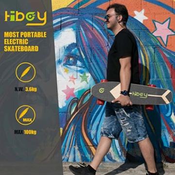 Hiboy - Mini Elektrisches Skateboard 4 Rad mit Intelligent Motor [7 Schichten Bambus Board] und Drahtlose Fernbedienung - 3,6 kg Portable Skate Board für Beifahrer, Kinder und Erwachsene - Modell S11 - 7