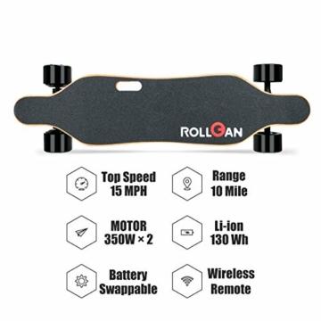 Rollgan Batterie abnehmbares elektrisches Skateboard-Doppelmotoren, drahtlose Direktübertragung mit DREI Geschwindigkeits-Modi, abnehmbare Batterie, Energie-Bank[DE Inventar] - 3