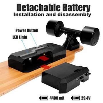 Rollgan Batterie abnehmbares elektrisches Skateboard-Doppelmotoren, drahtlose Direktübertragung mit DREI Geschwindigkeits-Modi, abnehmbare Batterie, Energie-Bank[DE Inventar] - 4
