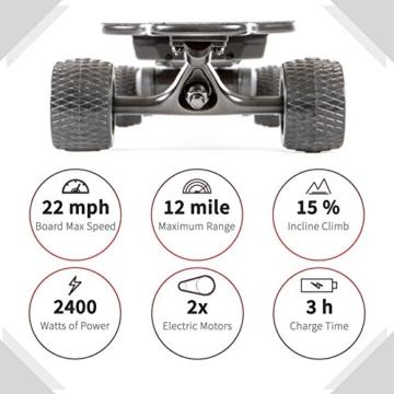 """Slick Revolution Elektro-Skateboard, 2x 1200W Motoren, grobe Rollen, 35Km/h Höchstgeschwindigkeit,""""8–10-mile""""-Serie, Carbon Fibre Deck - 2"""