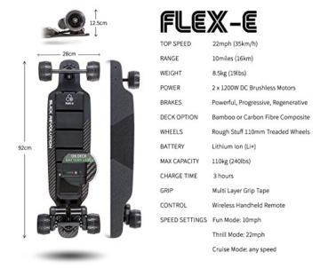 """Slick Revolution Elektro-Skateboard, 2x 1200W Motoren, grobe Rollen, 35Km/h Höchstgeschwindigkeit,""""8–10-mile""""-Serie, Carbon Fibre Deck - 3"""