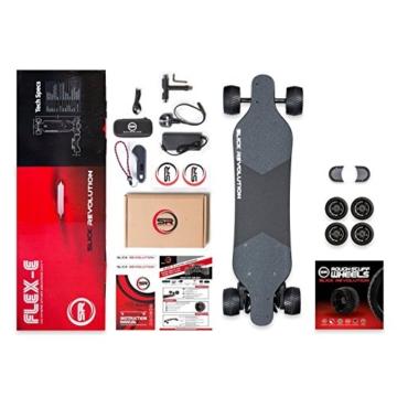 """Slick Revolution Elektro-Skateboard, 2x 1200W Motoren, grobe Rollen, 35Km/h Höchstgeschwindigkeit,""""8–10-mile""""-Serie, Carbon Fibre Deck - 9"""