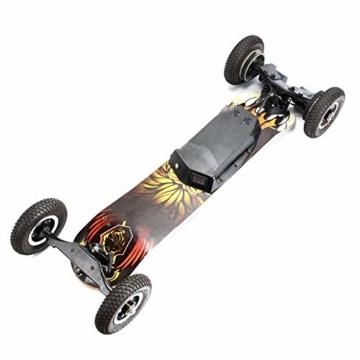 JianJu Elektrisches Skateboard Off-Road Elektro Skateboard mit Fernbedienung, All Terrain Offroadreifen Board Pro Longboard, 10Ah, 40 Km/H - 120 KG, Dual Motor 1450W x 2 - 2