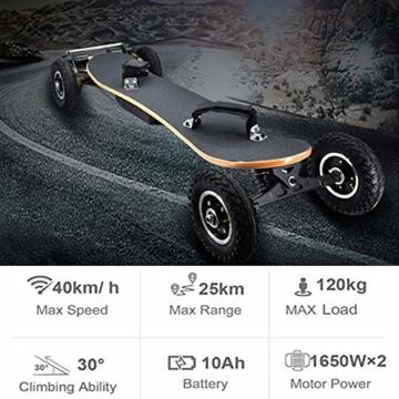 JianJu Elektrisches Skateboard Off-Road Elektro Skateboard mit Fernbedienung, All Terrain Offroadreifen Board Pro Longboard, 10Ah, 40 Km/H - 120 KG, Dual Motor 1450W x 2 - 3