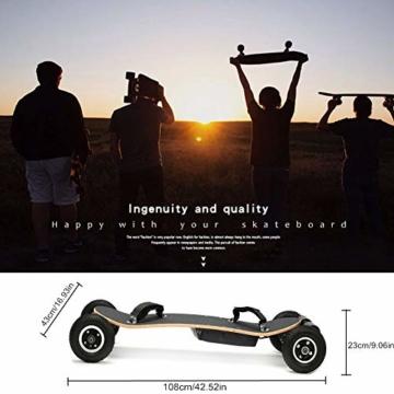JianJu Elektrisches Skateboard Off-Road Elektro Skateboard mit Fernbedienung, All Terrain Offroadreifen Board Pro Longboard, 10Ah, 40 Km/H - 120 KG, Dual Motor 1450W x 2 - 4